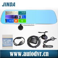 Touch screen night vision rearview mirror car gps with dvr