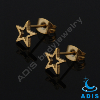 Factory supply anodized gold hollow Five-pointed star ear stud piercing
