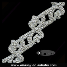 2016 Unique Designs Rhinestone Crystal Trimmings/ Beads Crystal Trims Iron On Backing For Costumes DH-1474