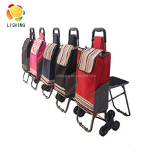 600D polyester foldable trolley shopping bag, customized shopping trolley bag 3 wheeopping trolley, vegetable shopping cart