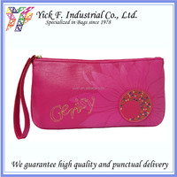 Elegant Pink PU Leather Ladies Women Cosmetic bag / Purse / Clutch
