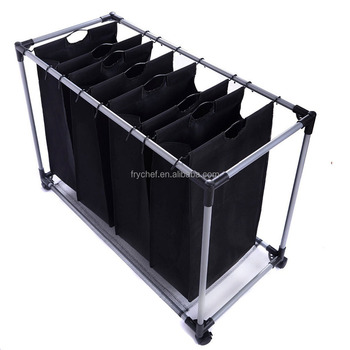 Laundry Sorter Rolling Cart With 4-Bag Laundry Hamper Organizer Stand Laundry hamper Trolley Cart Serving Utility F0194