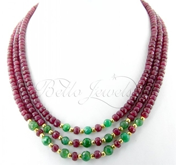 3Strand Africa Ruby & Emerald Beads Handmade Necklace in Breese