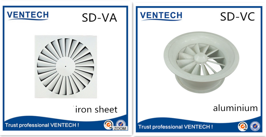 Air vent iron sheet round swirl floor diffuser
