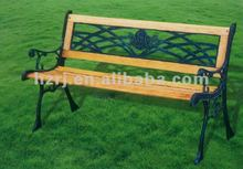 Cast iron and wood three people garden bench