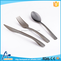 China supplier heat resistant PS plastic silver spoon and fork knife set