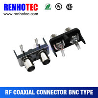 High quality Right angel Two BNC (SWITCH) Female in one Row connector