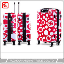 Polka dot suitcase , girl abs print hard shell polka dot luggage