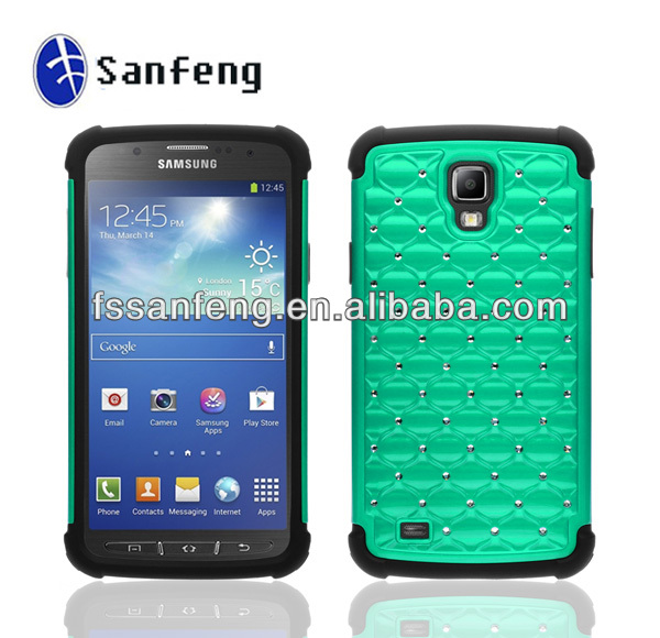 Deluxe Hybrid Total Defense Lattice Bling Case for Galaxy S4 Active I9295,Combo Case for Samsung Galaxy S4 Active I537 Case