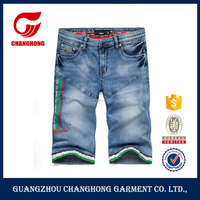 Professional supplier custom printing brand logo loose short style ripped jeans for men