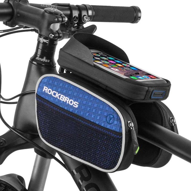 "ROCKBROS Double IPouch Cycling Pannier 5.8""/6.2"" Cellphone Smartphone Case Waterproof Bike Bicycle Frame Front Head Top Tube Bag"