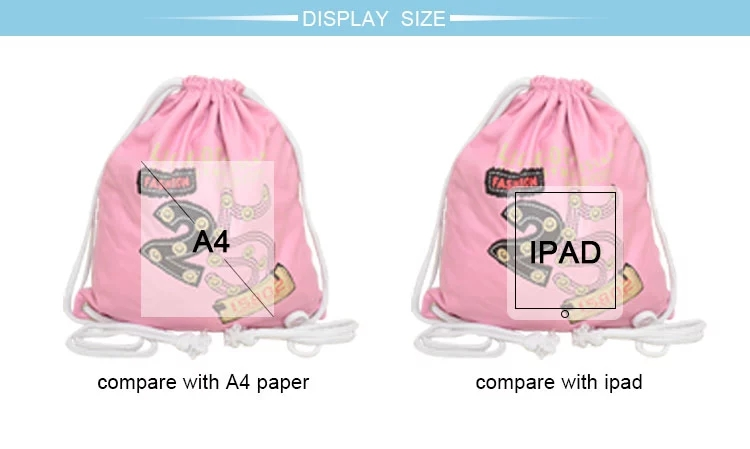 Promotional cheap custom printed canvas drawstring bag