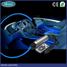 LED car lights for roof and ambient decoration using with side emitting fibre and RGB light engine