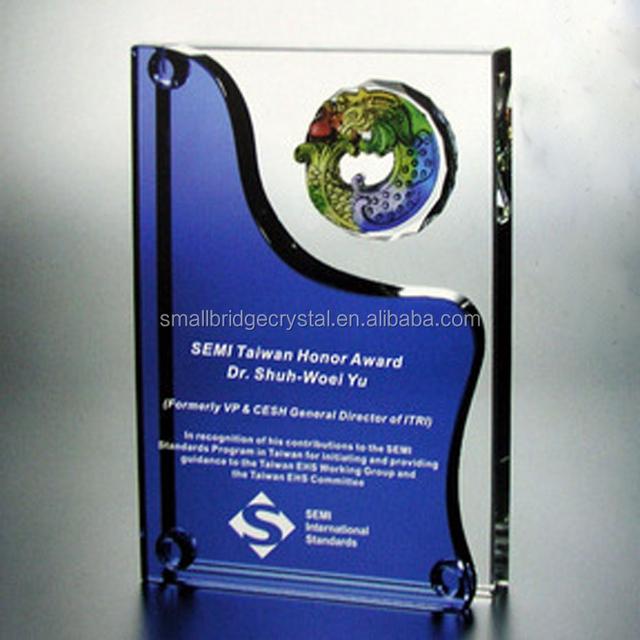Unique design blue crystal award plaques