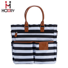 Promotional high quality fabric white black stripe adult leather handle diaper bags mummy baby bag