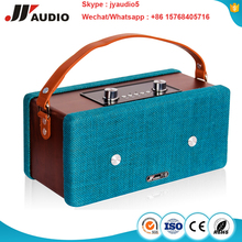 Cowhide handle+Gunny fabric cover 6w wood bluetooth speaker 10w