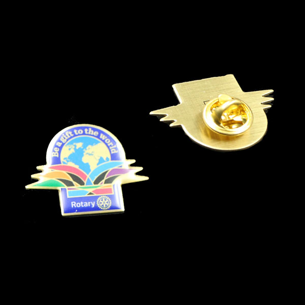 Internation rotary badge ,printing pins with epoxy