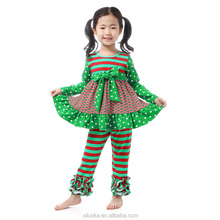 Wholesale stripe pattern baby girls gift Christmas child clothes fall outfits
