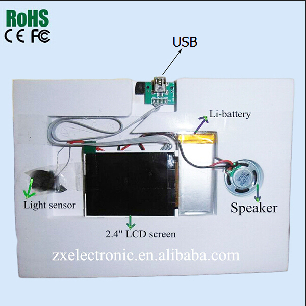 "2.4"" /3.5"" /4.3"" /5"" /7""Invitation Lcd Video Brochure Greeting Card Video Module"