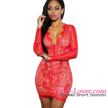 High Quality Wholesale Ladies Red Lace Nude Long Sleeve Sexy Short Mini Dress