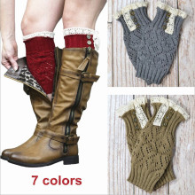 2015 new woven wholesale lace boot socks, lace boot cuffs