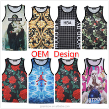 OEM 3D digital print custom gym tank top men mesh stringer vest