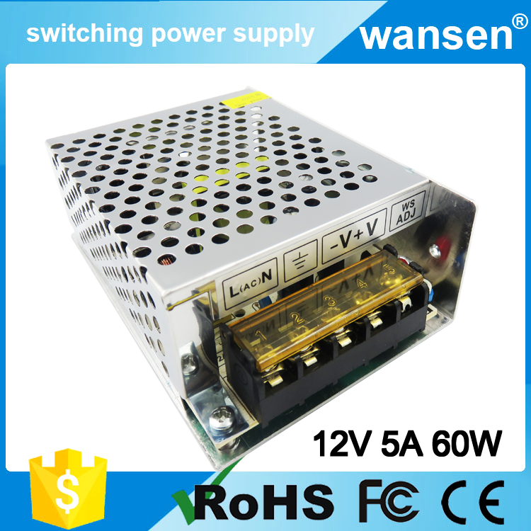 Reliable Brand 12v 60w external computer power supply S-60-12 With CE