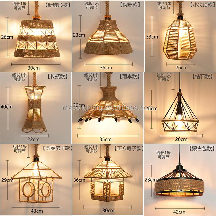 chandeliers pendant lights home decor pendant light hemp rope vintage hanging lamp for bar/restaurant/cafe  countryside lights