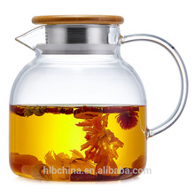 Transparent handblown borosilicate glass teapot