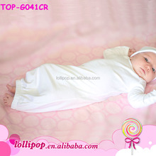 Cotton Newborn Baby Girl Long sleeve Sleeping Gown Blank White Latest Kids Long Gown
