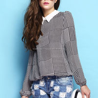 polo collar long sleeve blouse /autumn clothes