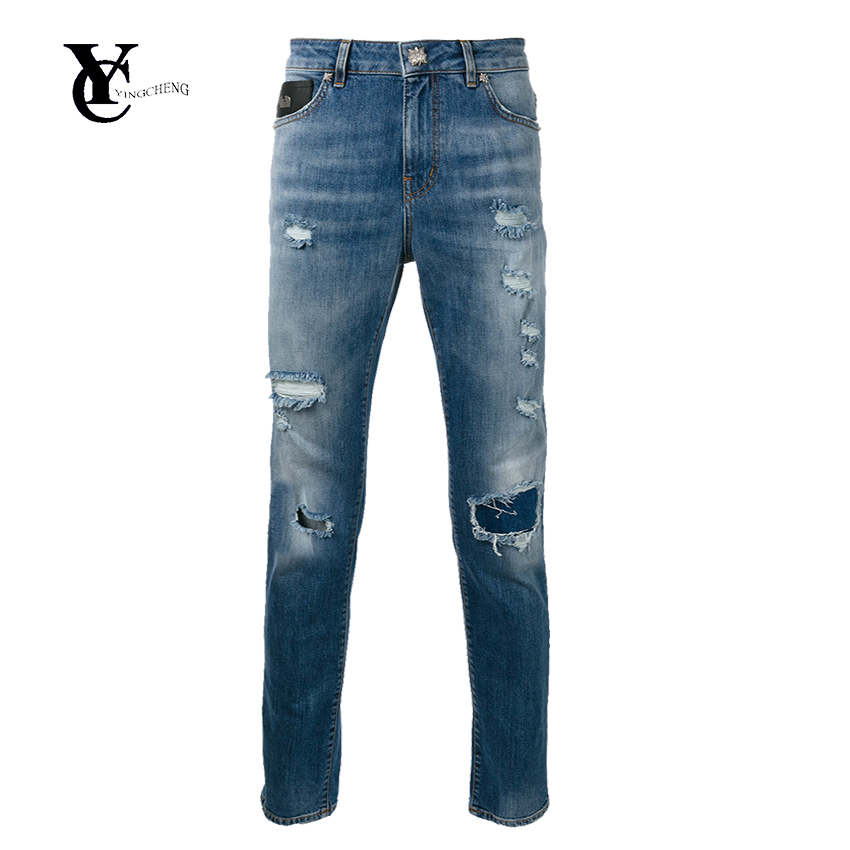 OEM Natural Cotton Jeans Latest Design High Quality Straight Jeans Wear and Tear Details Tight Jeans Trousers for Men