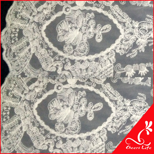 Cheerslife QA10536-1 Net cotton embroidered lace fabric