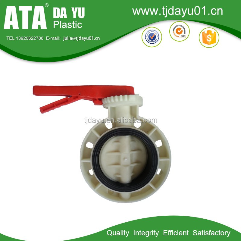 din polypropylene butterfly valve handle lever type for water works