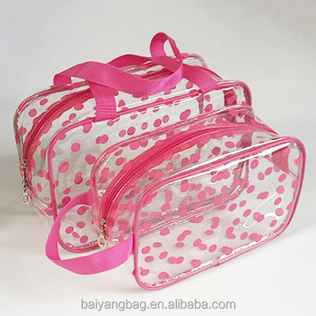 Fashion dots printed transparent clear PVC cosmetic bag with zipper