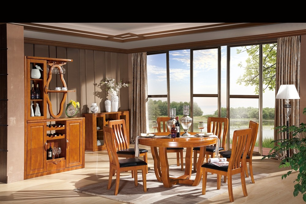 Hot sale modern solid wooden furniture dining room table and chair set design 8302