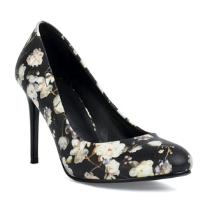 2019 Factory price pointed toe elegant flowers pu print sexy high heels stiletto shoes