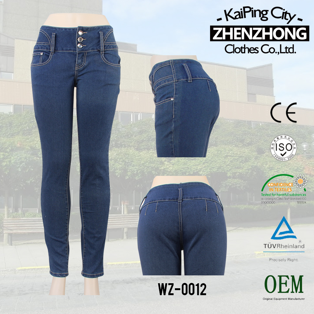 [CWL-2428-B2] in tight blue style high waist women jeans Long Design Dark Denim