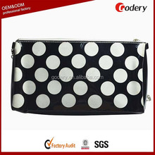 Newest design eco-friendly material black and white polka dot cosmetic bag