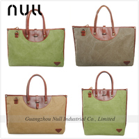 Customized High Quality Leather and Canvas Shopping Bag
