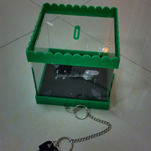 Wholesale acrylic coin charity donation money box with lock