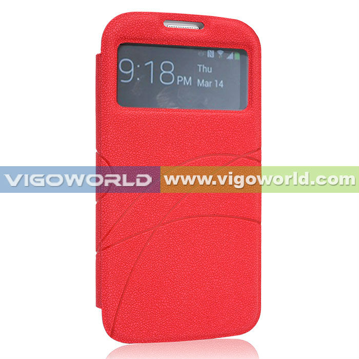 Ultra Slim Thin Flip PU Red Leather Diary Book Case Cover For Samsung Galaxy S4 i9500