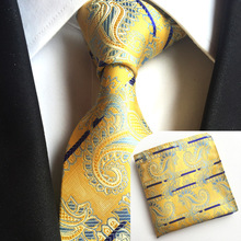 NB-391 Wholesale 8cm Width Polyester Silk Cashew Nuts Tie And Pocket Square