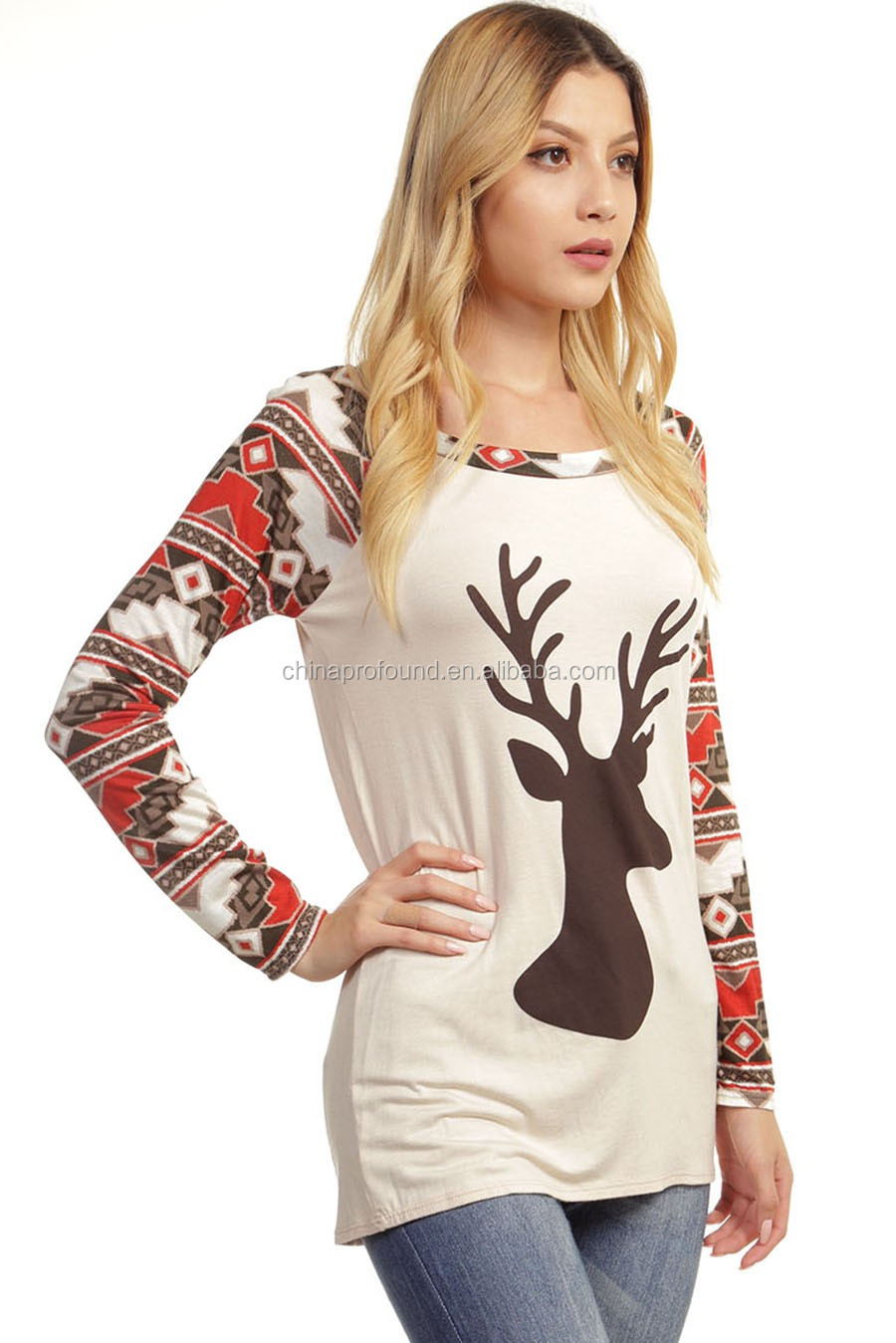 long sleeve 100 cotton christmas New Fashion deer printing fitted t shirt woman oversized jersey tee shirt for women 2016