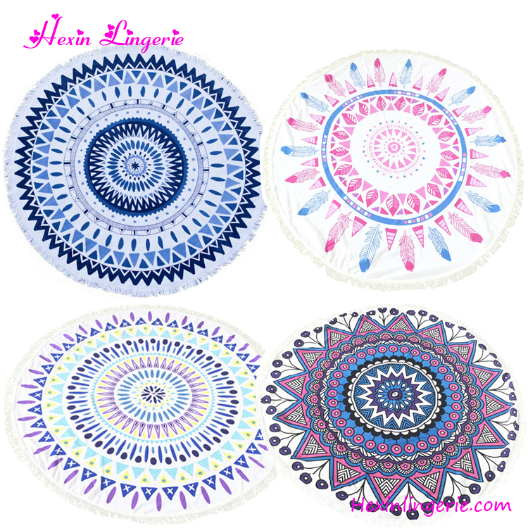 Drop Shipping Microfibre Printed Tassels Mandala Towels Large Round Beach Blanket