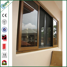 american style pvc window with woodgrain laminated films