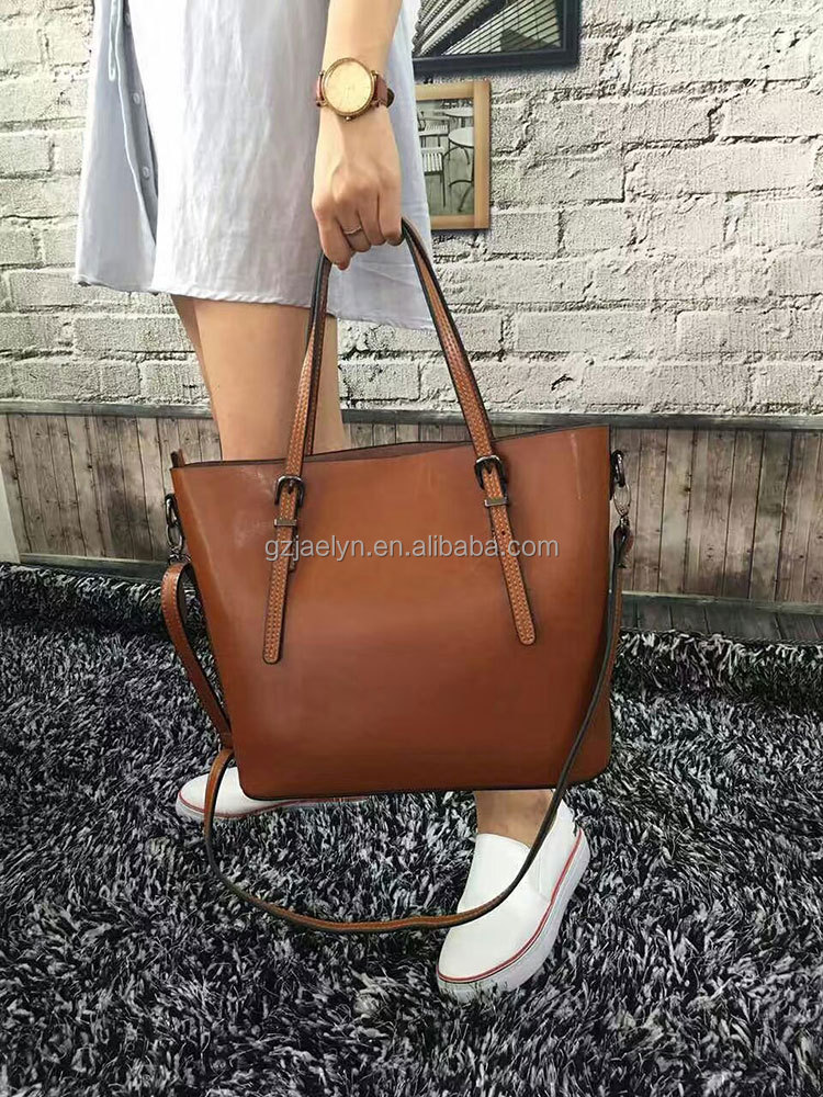 Hot sale fashion designer waxy vintage leather handbags wax oil skin cow leather bags genuine leather women handbags tote bag