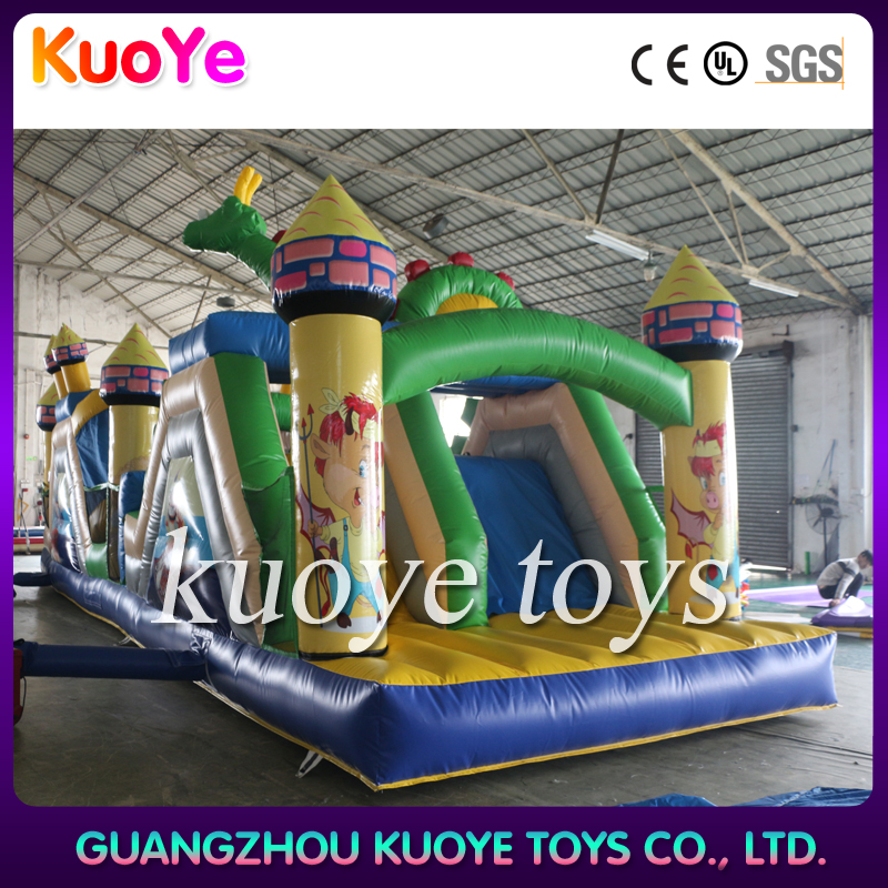 Cheap outdoor playground giant bouncy castle inflatable obstacle course for kids