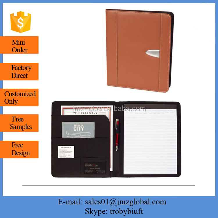 Genuine Bonded Leather Business or Student with Replaceable Notepad, Document Holder, Card Holder and Pen Holder, Brown