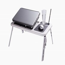 Folding and portable laptop lap desk with cooling fans